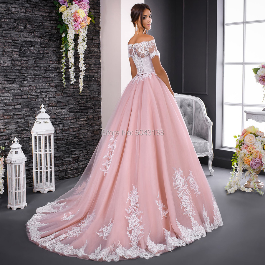 Image 2 - Gorgeous Pink Wedding Dresses Chic Lace Applique Boat Neck Ball Gown Bride Dress Off Shoulder Short Sleeves Formal Bridal Gowns-in Wedding Dresses from Weddings & Events