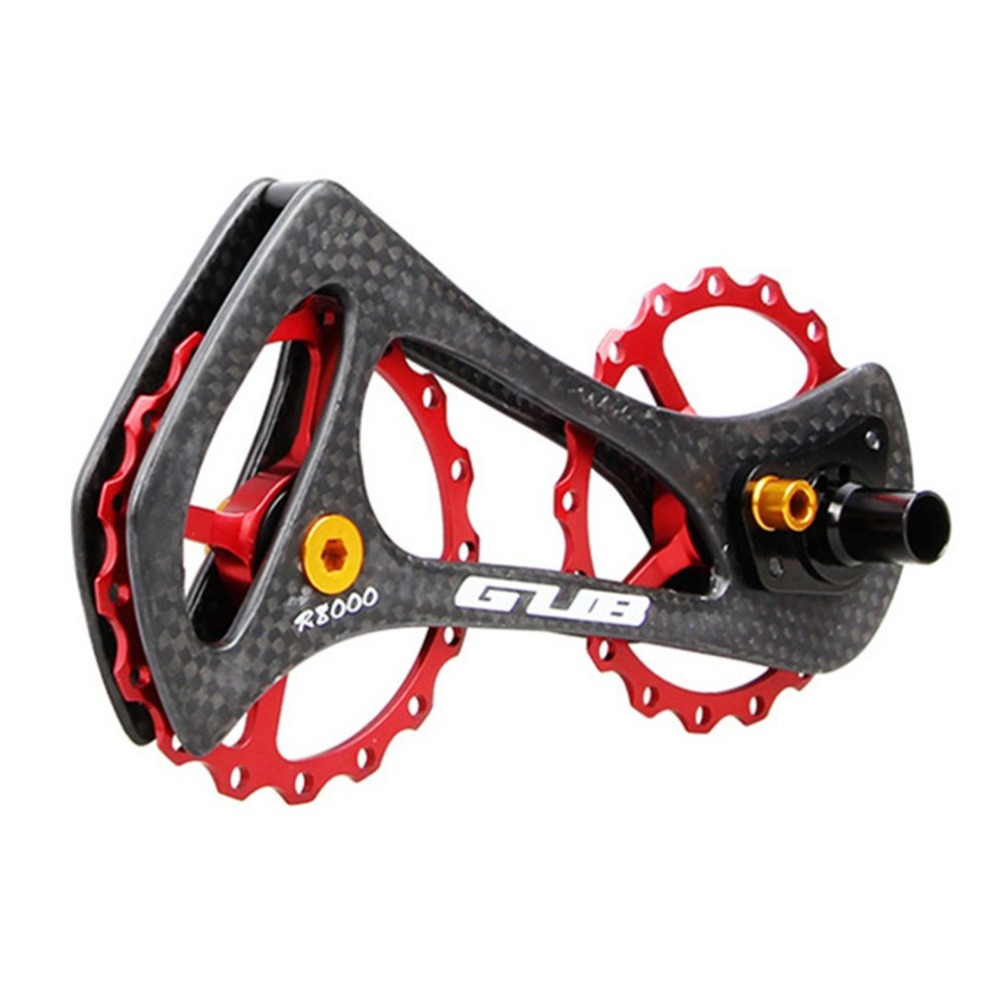 цена на 17T Bicycle Bike Carbon Fiber Frame CNC Guide Wheel Aluminum Alloy Bicycle Rear Derailleur Ceramic Bearing Pulley Wheel