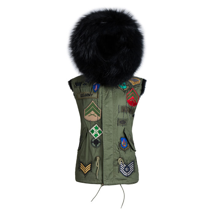 Korean style black short coat faux fur parka for Male winter waistcoats