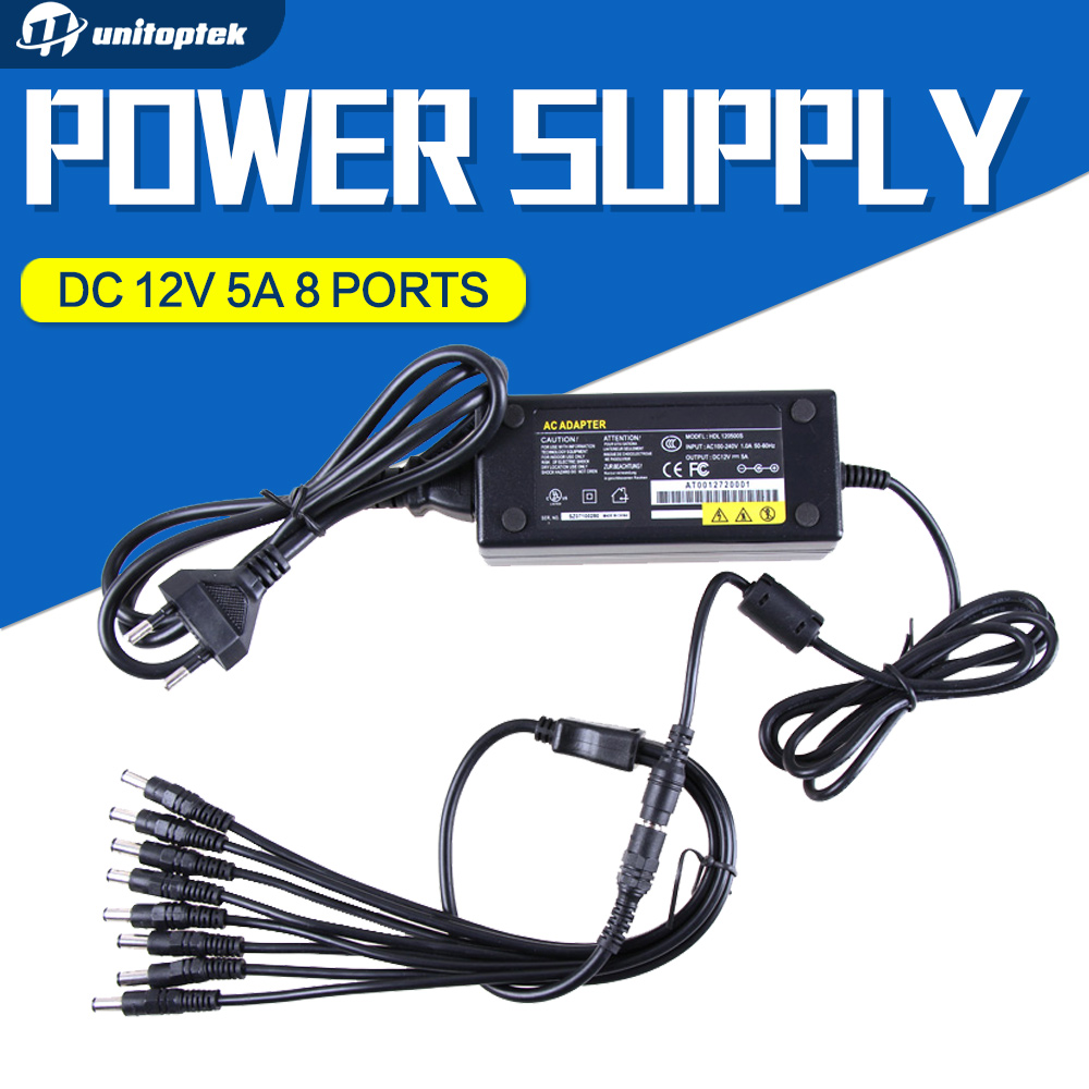 DC 12V 5A AC Adapter CCTV Power Supply Adapter Box 1 To 8 Port For The CCTV Surveillance Camera System ABS Plastic dc 12v 5a ac adapter cctv power supply adapter box 1 to 8 port for the cctv surveillance camera system abs plastic