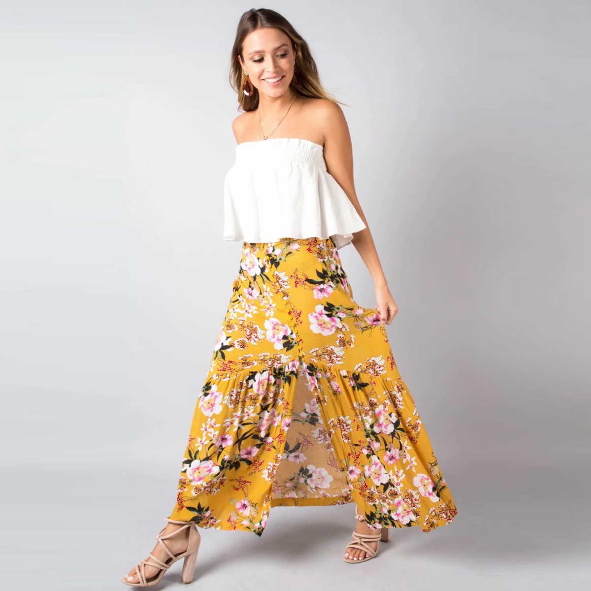 4d1130145a6 Jastie Vintage Floral Print Skirt Button Front Boho Hippie Split ...