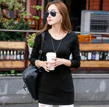 Long section t-shirt women o-neck clothing winter fashion tees cotton plus velvet clothes slim lady bottoming casual female tops