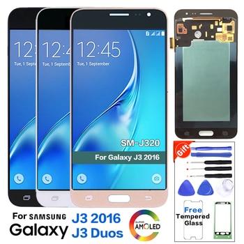 e44fa251ac4 Super Amoled pantalla de LCD para SAMSUNG Galaxy J3 2016 J320F pantalla LCD  de pantalla táctil digitalizador Asamblea con cintas + vidrio protector