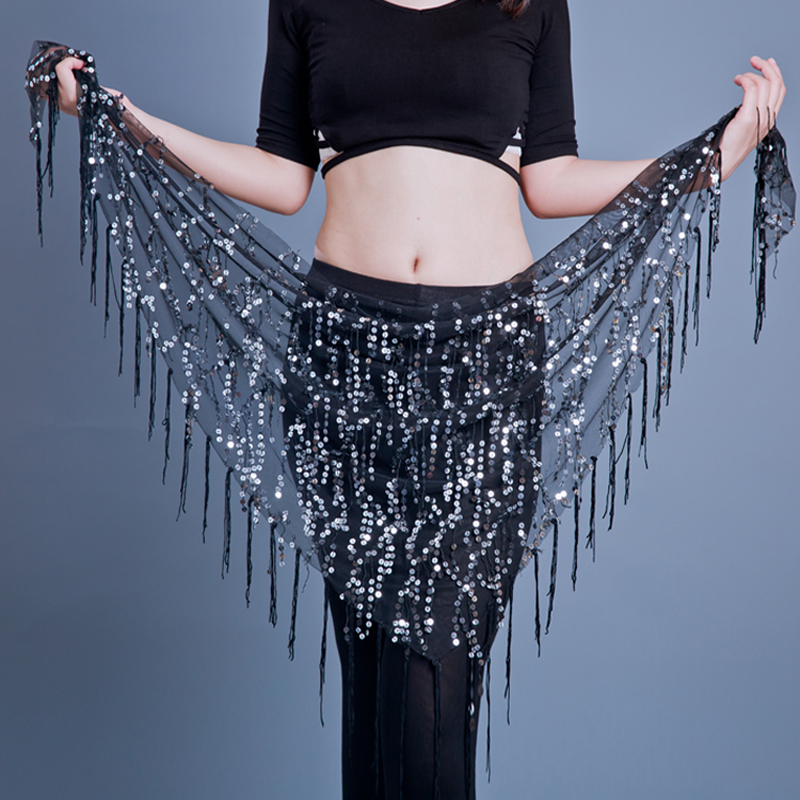 Women Belly Dance Hip Scarf Tribal Fringe Sequins Triangle Tassel Hip Scarves Bellydance Accessories  12 Colours