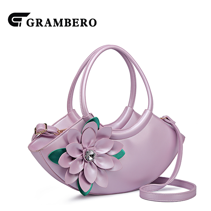 Fashion Women Evening Bag Rhinestone Relief Flower Handbag Soft PU Leather Zipper Shoulder Modern Messenger Bag Birthday Gifts