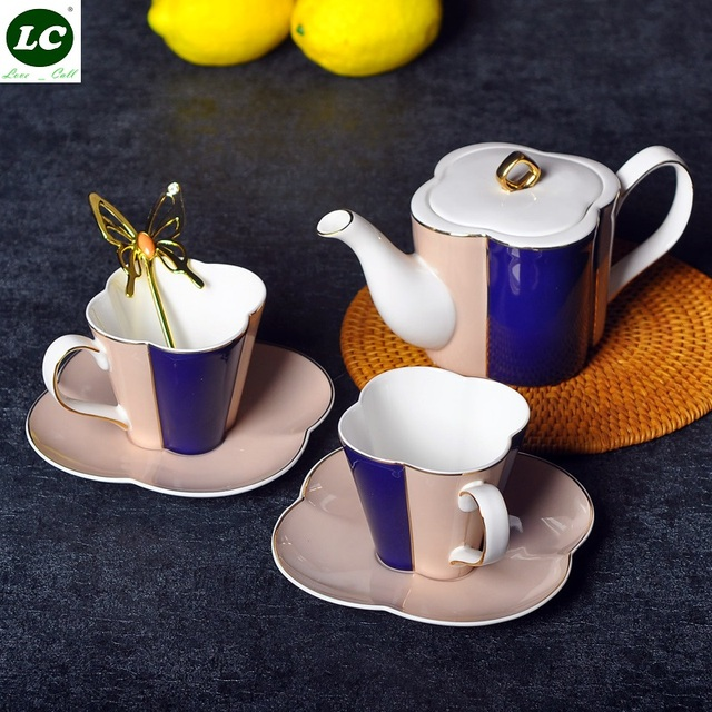 1 set Bone China Coffeware Set Mug suit Home ceramic Saucer set Flower Teapot Cup Filter Kettle Cups with Gift Box Coffee Set