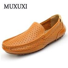 Top marca de Alta calidad de cuero genuino zapatos de los hombres ocasionales cómodos mocasines de ante de la vaca suave transpirable planos de los hombres zapatos de conducción