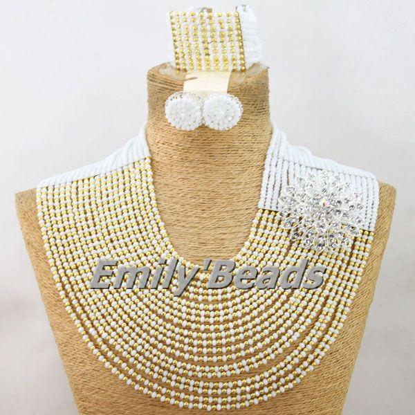 African Clear White Beads Jewelry Set Dubai Costume Nigerian Wedding Jewelry Set Big Party Jewelry Set Free Shipping AMJ058