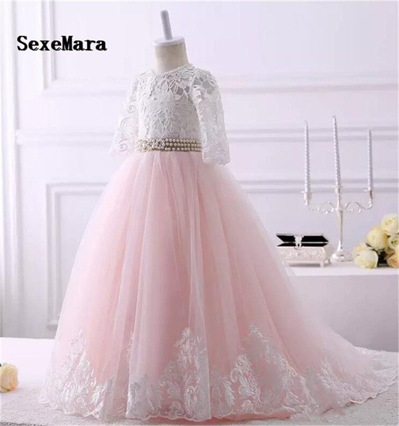 Belle dentelle Applique fleur filles robe avec ruban trou de serrure dos gonflé Tulle première Communion robe de noël robe de toute taille - 3