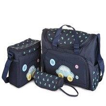 طقم حقائب أطفال للحفاضات مكون من 4 قطع عالي الجودة لحفاضات الأطفال على الكتف حقيبة حفاظات متينة للأمهات بألوان وردية/زرقاء/صفراء للأمهات