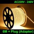 6M/lot AC220V 230V 240VSMD 5050 led strip light+Power plug,warm white/white,60leds/m waterproof