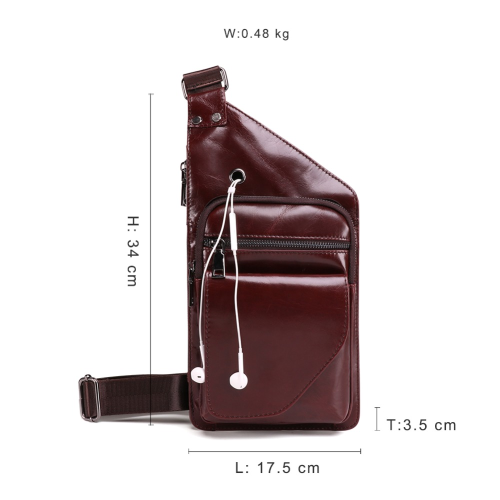JOYIR Fashion Cow Genuine Leather Crossbody Bags Men Chest Bags Pack Anti theft Male Shoulder Bag Casual Men 39 s Messenger Bag in Waist Packs from Luggage amp Bags