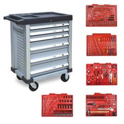 Luxo toolkit 252 pces ferramentas de manutenção do carro com 7 gavetas ferramenta carrinho conjuntos série