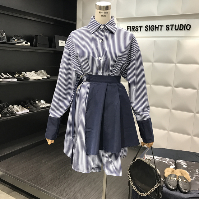 Dress Set Women Spring Striped Shirt Long Sleeve Lapel Loose Long Blouses + Waist Skirt Sets Girls Student Two Piece Suit 2018