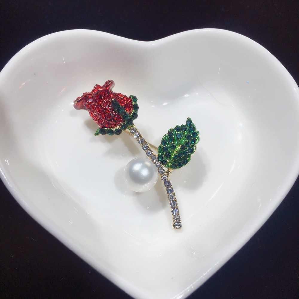 Zhboruini Kualitas Tinggi Mutiara Air Tawar Alami Bros Mutiara Bunga Rose Bros Warna Emas Perhiasan Mutiara untuk Wanita Aksesoris
