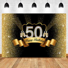 NeoBack Gold 50th Birthday Backdrop Glitter Champagne Photography Background Vinyl Black Party Banner Backdrops