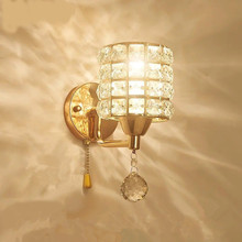 Modern style Wall Lamps bedside lamp Bedroom Stair lamp Crystal wall Lights e27 Led single gold silver Color indoor lighting brief modern crystal gold wall lamp ofhead mirror stair single circle frha b25