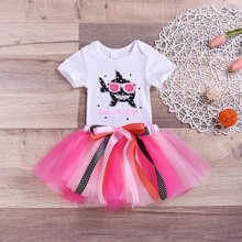 7fab559599 2019 Toddler Baby Kid Girls Clothing Shark Print Romper Summer Girl Tops  Pink TUTU Skirt Princess