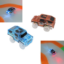 LED light up cars for Track Electronics font b Toys b font Diecast DIY Puzzle Rail