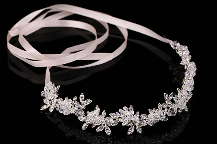 New Arrival Noble Crystal Rhinestone Bridal Headpieces Satin Ribbon Wedding Hair Accessories for Brides Tiaras Crowns Headbands 4