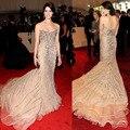 Ashley Greene de Vestidos de La Celebridad Alfombra roja de La Sirena de Lujo Con Cuentas de Cristal de Champán Magnífico Vestidos de Noche vestido de festa