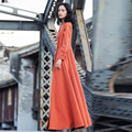 Verragee Women Autumn Winter Coat 2016 Fashion Office Ladies V Neck Orange Long Trench Coat Women Plus Size X Long Trench Coat