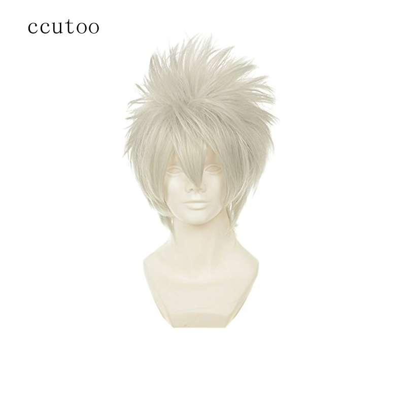 ccutoo 12 Hatake Kakashi Mens Silver White Short Shaggy Layered Fluffy Synthetic Hair Cosplay Full Wigs Heat Resistance Fiber