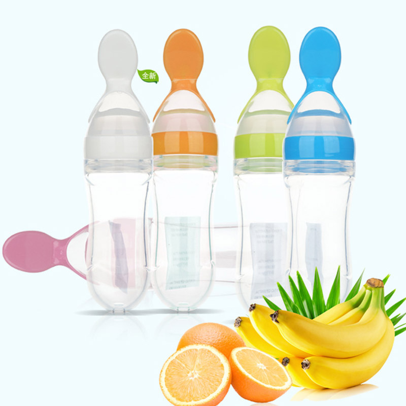 90 ml Training Infant Soft Silicone Spoon Extrusion rice-paste feeding bottle baby weaning food feeder Supplement Tableware
