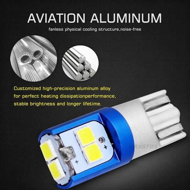 2 pièces W5W 3030 SMD voiture T10 LED 194 168 cale remplacement inverse tableau de bord lampe blanc bleu ampoules pour feux de dégagement 4