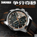 Skmei fashion classic business and leisure men waterproof leather multi-function Stop Watch Watch calendar pointe