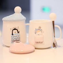Creative 3D relief ceramic mug cup cute cartoon couple student with cover scoop personality office drinking water B
