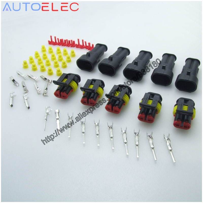 5Pair 2Pin Way Super Sealed Automotive Waterproof Electrical Wire Auto Connector Plug for Sealed Electrical Xenon lamp AMP Tyco free shipping high quality tyco amp 2 3 4 5 6 7 pin automotive electrical plug sealed auto connector