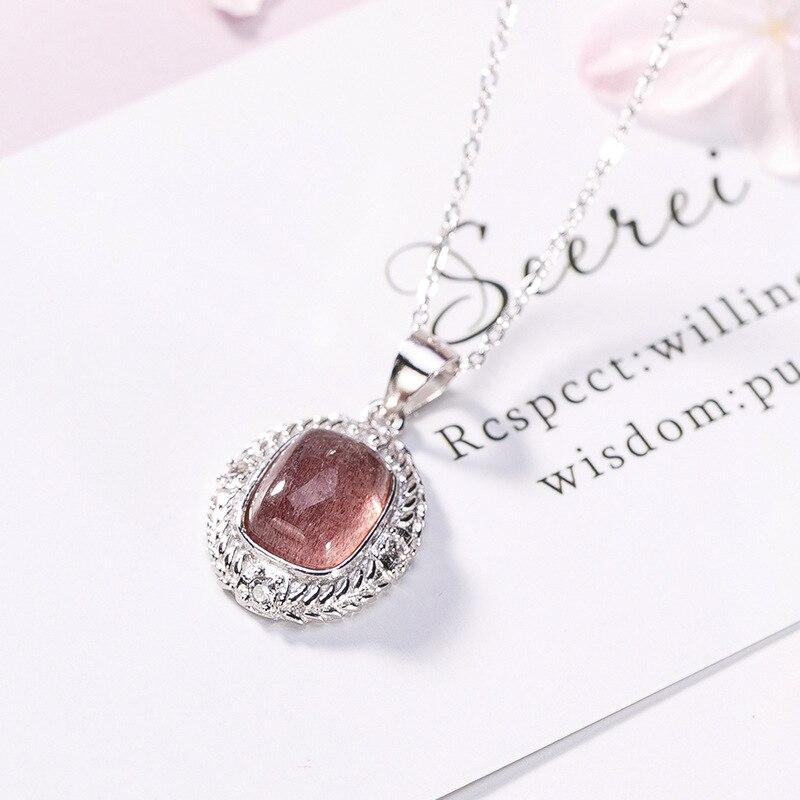 2018 nouveau véritable 100% 925 pendentif en argent Sterling collier pour femmes élégance rose cristal Original collier de mariage bijoux fins