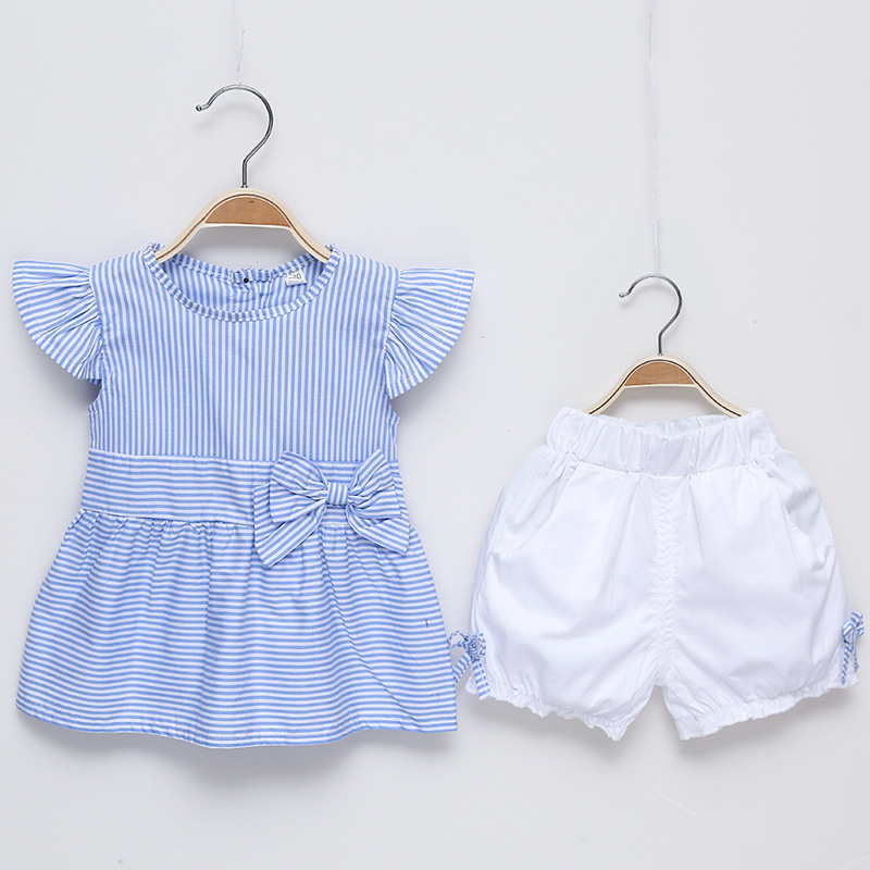 Toddler Girls Summer Clothing Set Fly Sleeve Striped Blouse+Bow Short Pants Baby Clothes ...