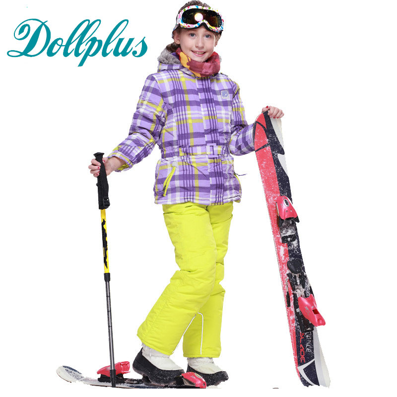 Russian Winter Girl Ski Clothing Set Windproof Outdoor Children Ski Jackets+Bib Pants 2pcs Kids Snow Suit wendywu 2017 russia winter children clothing sets girl ski suit set sport boys jumpsuit snow jackets coats bib pants 2pcs set