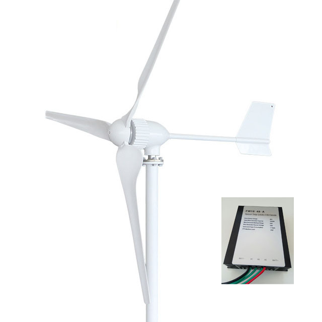 1000W Wind Turbine Generator AC 24V/48V 3 Blade 1150mm Low Wind Speed Windmill , with wind charge controller 800w wind turbine generator 24v 48v 2 5m s low wind speed start 3 blade 1050mm with ip 67 charge controller