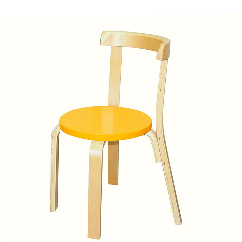 Multi-function Kids Dining Stool With Backrest Solid Wood Stable Children Study Chair Comfortable Smooth Bent Wood Kids Chair