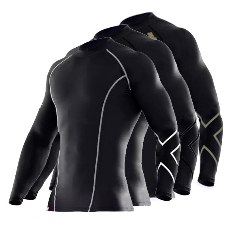 2018 Marke Mens Compression Enge Kleidung Vestiti Eine Maniche Lunghe T Hemd Traspirante Superelastische Jogger Tees T-shirt Fitness Up-To-Date-Styling