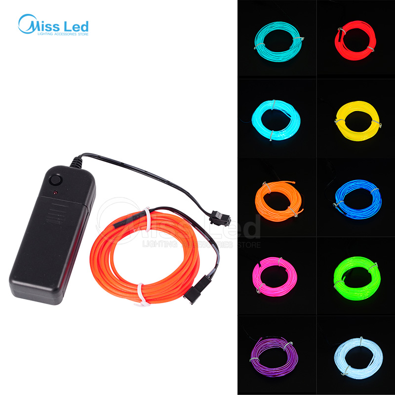 Hot Sale 3M Flexible Neon light EL Light wire Rope Tube 10 colors ...