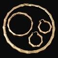 2017 Мода Бамбук Форма Африканские Бусы Комплект Ювелирных Изделий Изысканный Флэш Дубай Позолоченные Комплект Ювелирных Изделий Нигерии Свадебные Bijoux