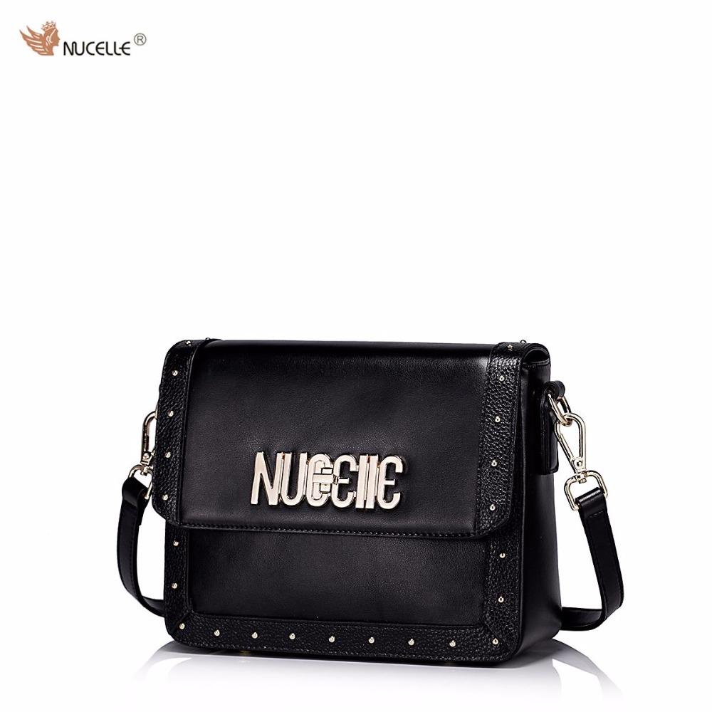 ФОТО NUCELLE Brand Design Metal Letters Logo Cow Leather Women Ladies Shoulder Crossbody Flap Bags
