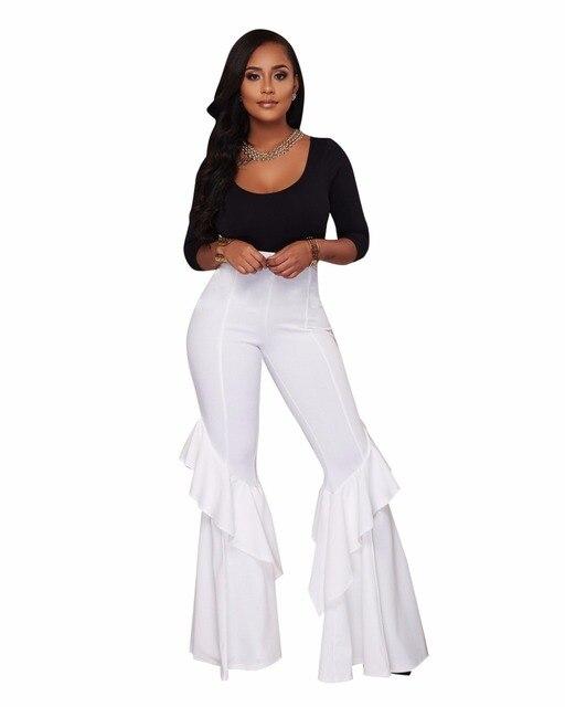 Женские Модные середине талии Slim Fit Брюки Твердые Эластичный клеш Flare Мотобрюки High-Low Cut HEM широкие брюки палаццо брюки для девочек