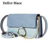 Women Handbags 2018 Luxury Designer Blue Circle Ring Chain Suede Bags for Girls Sac A Main Women Shoulder Bags Messenger Bag