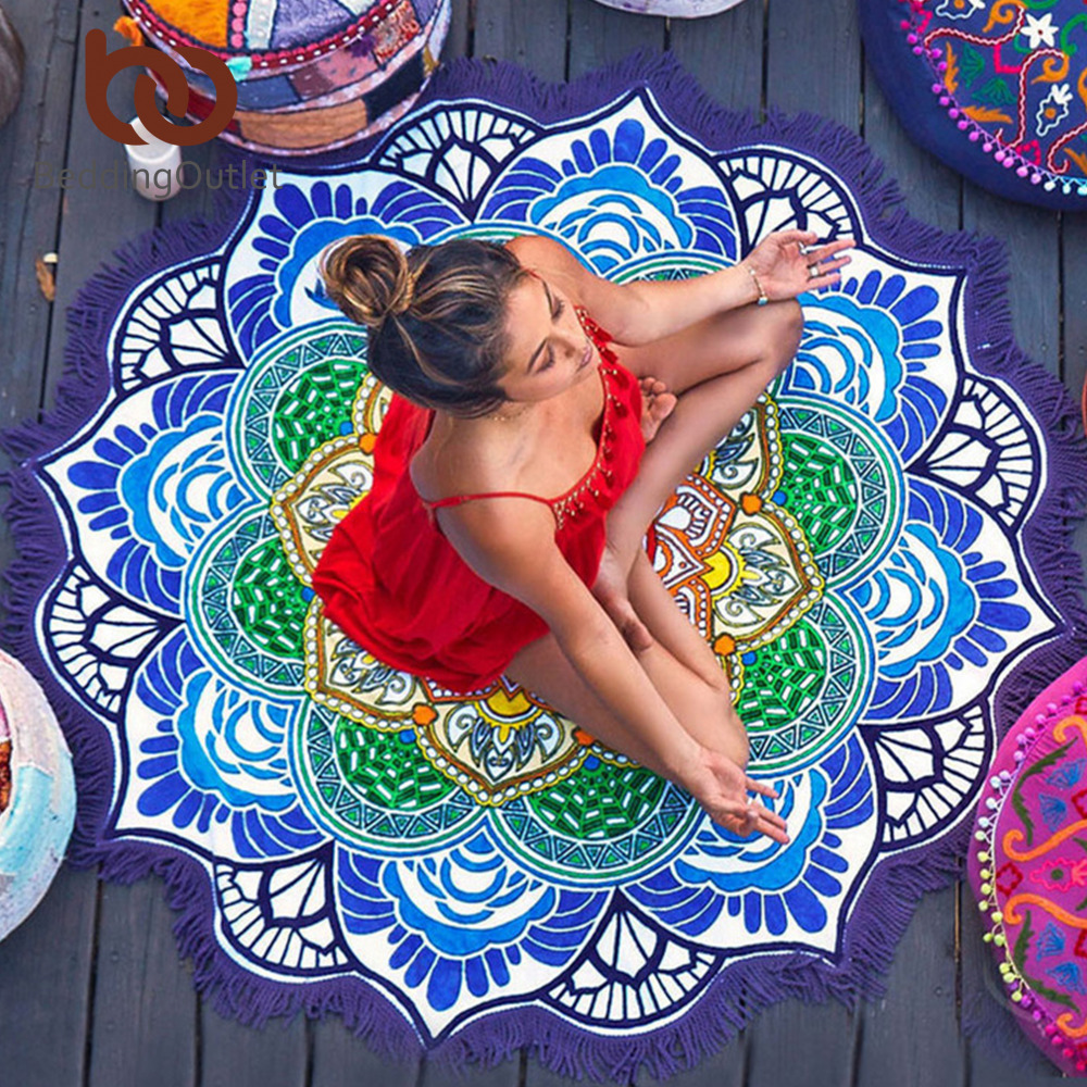 BeddingOutlet Tassel Indian Toalla Mandala Tapestry Beach Towel Sunblock Round Bikini Cover-Up Blanket Lotus Bohemian Yoga Mat