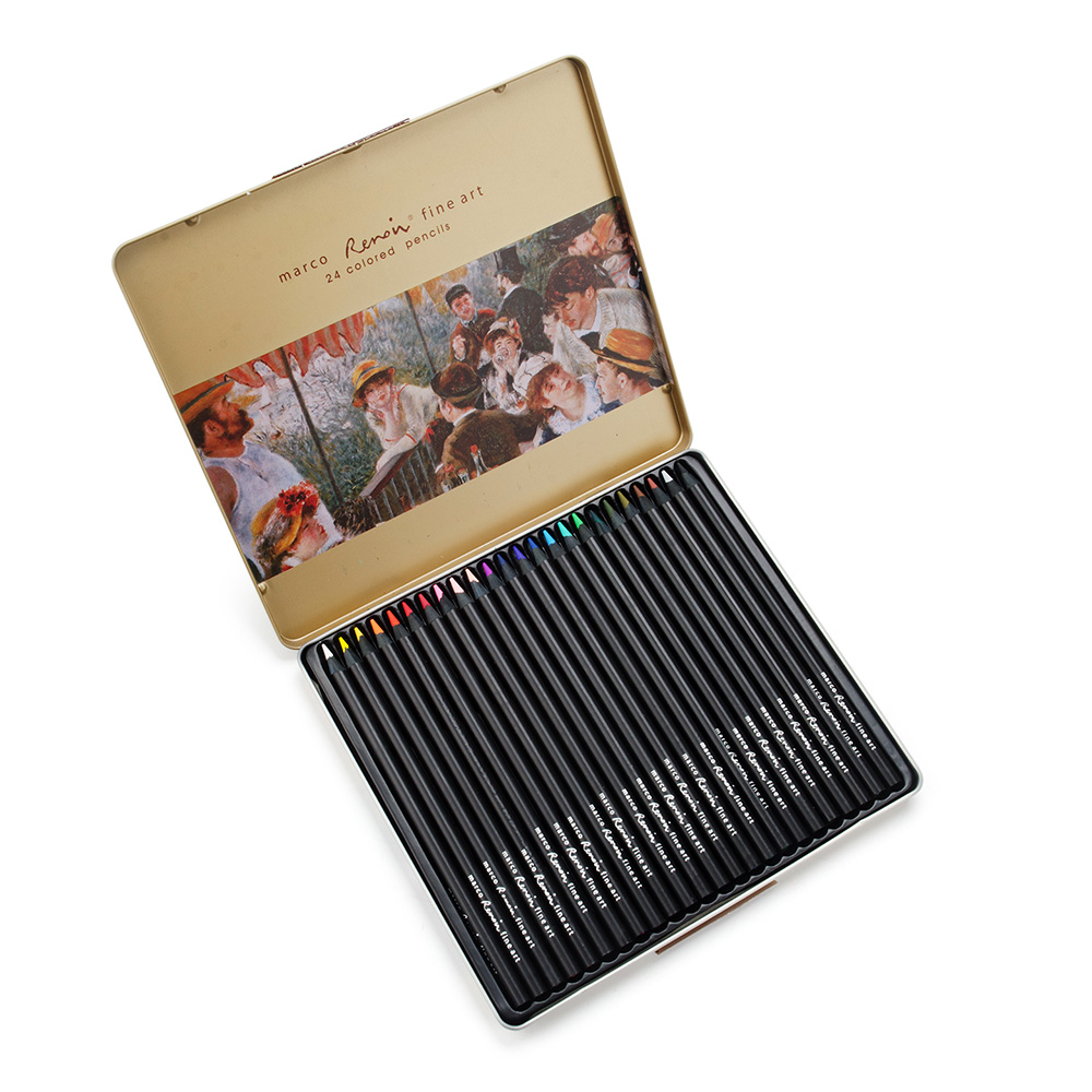 Marco Renoir fine art professional Oily Colored pencils 24pcs/set with metal Tin 3200-24TN marco renoir fine art professional oily colored pencils 48 color painting pencil with tin box