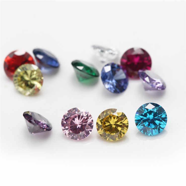 12 adet 4mm ~ 10mm doğum günü taş başına 1 adet renk gevşek yuvarlak kübik zirkonya CZ taş sentetik Corundum5 # spinel113 #