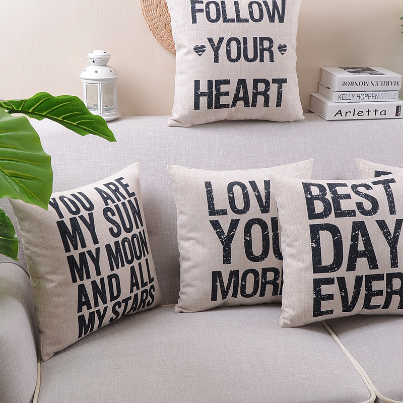 square shape letter black letter decorative throw pillow case cover cotton linen cushion cover for sofa home decor capa almofada