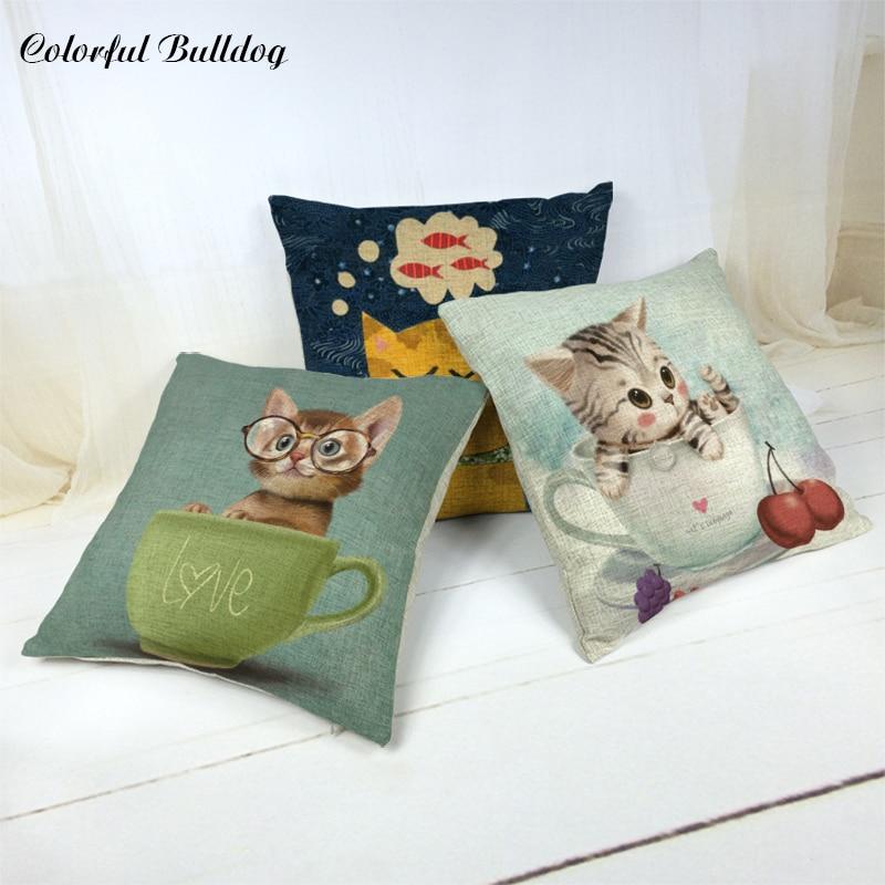 Cartoon Cute Cat Cushions Covers Cherry Bows Bird Pattern Car Seat Child Room Decoration Living Room Sofa Decoration Pillowcases