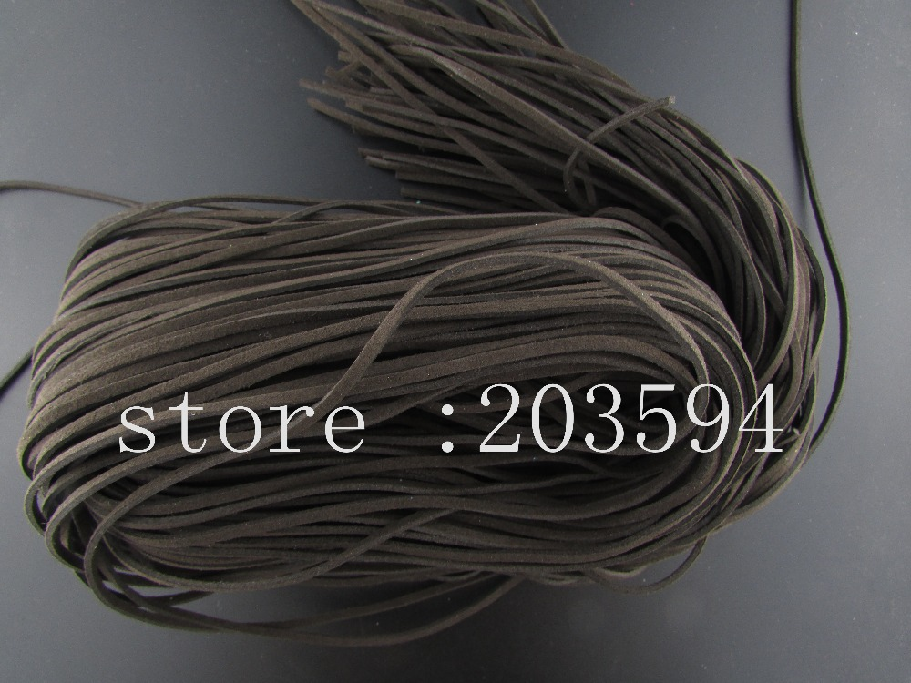 QDF! 5 Meters 3x1.5mm DEEP brown color Faux Suede Cord Leather Lace For Clothes Shoes Jewelry Making Findings 5M/lots