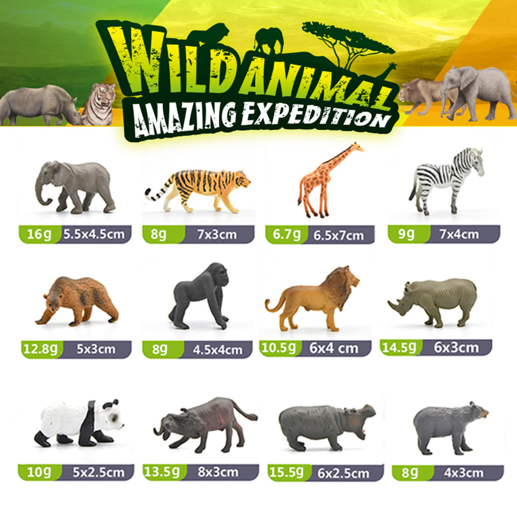 Figures Model Simulation World-Puzzle Wild Animal Plastic 12PCS Learning-Toy Solid New-Arrival